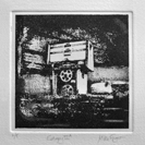 'Entropy IIA' an etching in black ink of an abandoned petrol pump rendered in photo-etching, aquatint and dry point