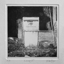 'Entropy IIC' an etching in black ink of an abandoned petrol pump rendered in photo-etching, aquatint and dry point