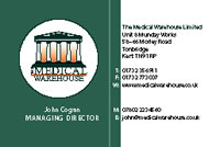 visiting card of Medical Warehouse: front