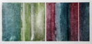 'Transition V' a multi-coloured etching showing vertical bands of colour merging across the paper